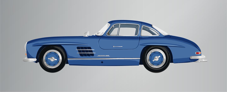 1956 Mercedes 300sl Gullwing Blue Ella Freire