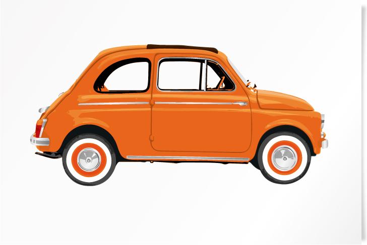 Fiat 500 Orange paper print